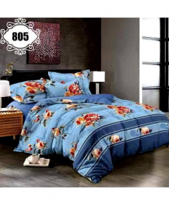 3D Sky Blue Floral Stylish Cotton Bedsheet SN-805