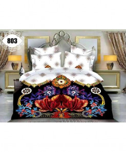 3D White Black Floral Stylish Cotton Bedsheet SN-803