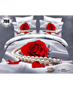 3D White Red Floral Stylish Cotton Bedsheet SN-798