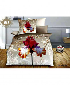 3D Silver Red Floral Stylish Cotton Bedsheet SN-797