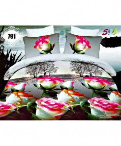 3D White Rose Floral Stylish Cotton Bedsheet SN-791