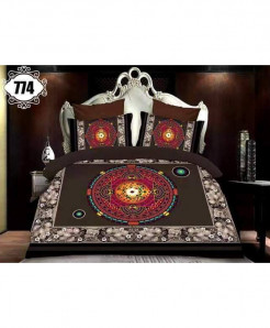 3D Dark Brown Gray Stylish Cotton Bedsheet SN-774