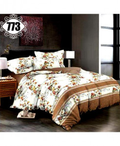 3D Brown White Stylish Cotton Bedsheet SN-773
