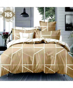 3D Brown Satin Stylish Cotton Bedsheet SN-765