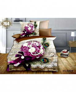 3D White Pink Floral Stylish Cotton Bedsheet SN-764