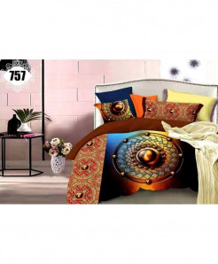 3D Brown Ring Stylish Cotton Bedsheet SN-757