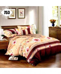 3D Brown Floral Stylish Cotton Bedsheet SN-753