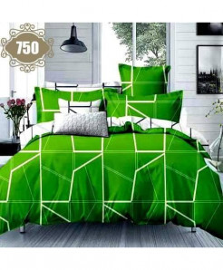 3D Green Satin Stylish Cotton Bedsheet SN-750