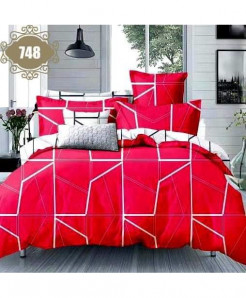 3D Red Satin Stylish Cotton Bedsheet SN-748