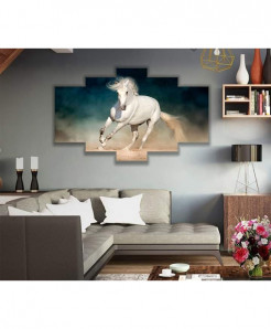 White Horse 5 Piece HD Wall Frame SA-105