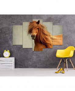 Horse 5 Piece HD Wall Frame SA-104