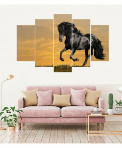 Black Horse 5 Piece HD Wall Frame SA-97