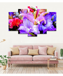 Lilie Flower 5 Piece HD Wall Frame SA-77