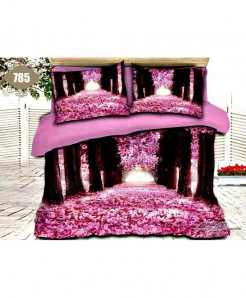 3D Pink Floral Stylish Cotton Bedsheet SN-785