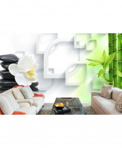 3D White Green Wallpaper BNS-344