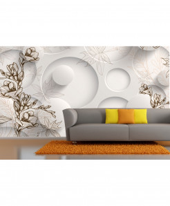 3D White Brown Skech Wallpaper BNS-344