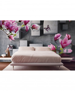 3D Blocks Pink Floral Wallpaper BNS-342