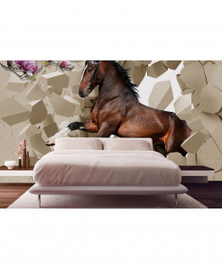 3D Brown Horses Wallpaper BNS-364