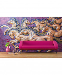 3D Bronze Horses Wallpaper BNS-363
