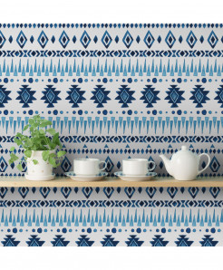 3D Blue Ikat Wallpaper BNS-359