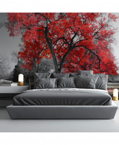 3D Big Red Tree Wallpaper BNS-357