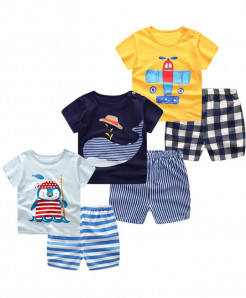 E BAINEL Pack Of 3 Short Sleeve Cartoon Cotton Baby Boy Dress