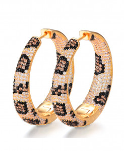 Top Shiny Golden Leopard Color Cubic Zirconia Party Occasion Hoop Earrings GLP