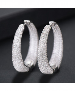 Top Shiny Silver Color Cubic Zirconia Party Occasion Hoop Earrings