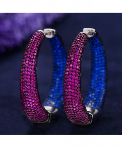 Top Shiny Purple Blue Cubic Zirconia Party Occasion Hoop Earrings RB