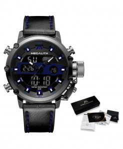 MEGALITH Leather Blue Waterproof Luminous Dual Display Watch