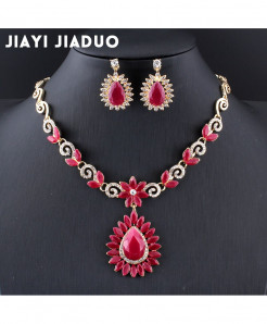 Jiayijiaduo Reddish pink Floral Design Jewelry Set