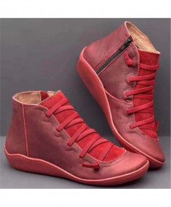 Xymlyc Red Genuine Leather Ankle Boots