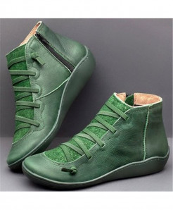 Xymlyc Green Genuine Leather Ankle Boots