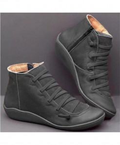 Xymlyc Black Genuine Leather Ankle Boots