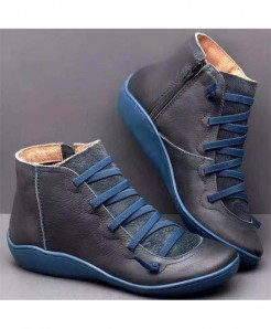 Xymlyc Navy Genuine Leather Ankle Boots