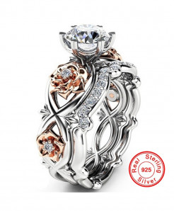 925 Sterling Silver Color Flower Shaped Ring