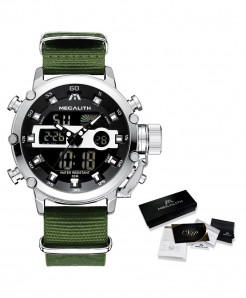 MEGALITH Nylon Silver Waterproof Luminous Dual Display Watch