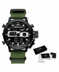 MEGALITH Nylon Black Waterproof Luminous Dual Display Watch