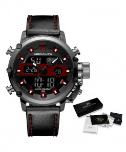 MEGALITH Leather Red Waterproof Luminous Dual Display Watch