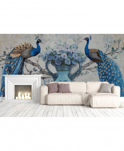 3D Pair Of Peacock Wallpaper BNS-430