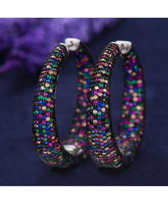 Top Shiny Multicolor Cubic Zirconia Party Occasion Hoop Earrings M