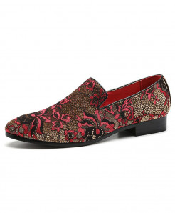 ZXQ Red Embroidery Floral Pattern Comfortable Loafers