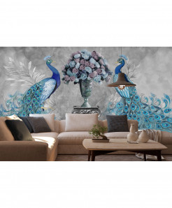 3D Peacock With Flowers Wallpaper BNS-434