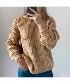 Hirsionsan Khaki Loose Autumn Knitted Sweater