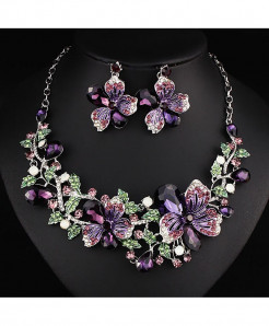 FARLENA Purple Crystal Rhinestones Jewelry Set
