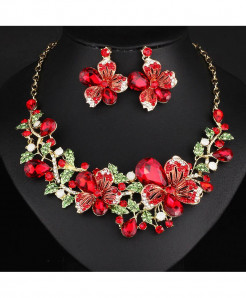 FARLENA Red Crystal Rhinestones Jewelry Set