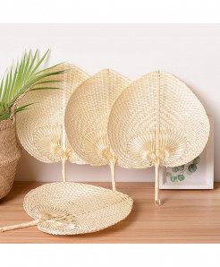 Pack of 4 Pure Cooling Fan Heart Shaped Bamboo Woven Fan