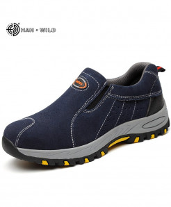Blue Steel Toe Safety Breathable Slip On Casual Boots