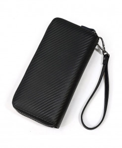 MAHEU Black Double Zipper Genuine Leather Long Wallet