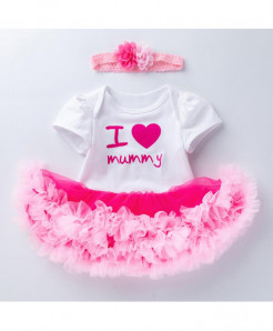 Flower Pink I love mummy  Baby Girl Dress